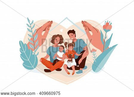 Family Protection, Support With Children Vector Background. Mother, Father, Daughter And Son Sitting