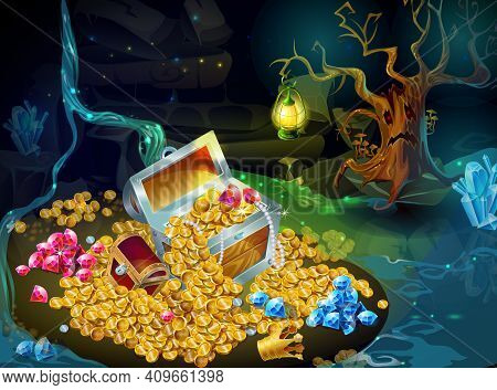 Cartoon Game Treasure And Trophies Background With Chests Gold Coins Gems Jewels Royal Crown Tree Ho