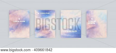 Set Of Vector Poster Templates. Splash Hand Painted Tie Dye Blurred Background. For Flyers, Posters
