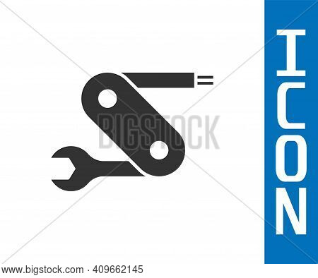 Grey Swiss Army Knife Icon Isolated On White Background. Multi-tool, Multipurpose Penknife. Multifun