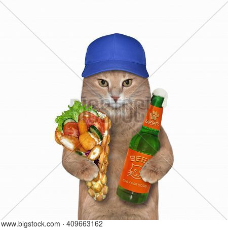 A Beige Cat Holds A Bottle Of Beer And Soft Waffles With Chicken Nuggets. White Background. Isolated