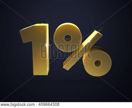 3d Number. 3d Illustration Of The Number 1 And Percent. Isolated   Golden Number 1 And Percent Sign.