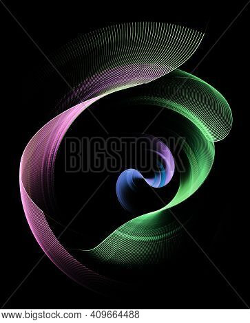 Magenta And Green Wavy Striped Planes Rotate On A Black Background. Graphic Design Element. 3d Rende