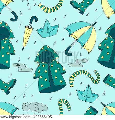 Spring Rain - Rubber Boots, Puddles, Paper Boats, Raincoat, Umbrella, Vector Seamless Pattern On A B