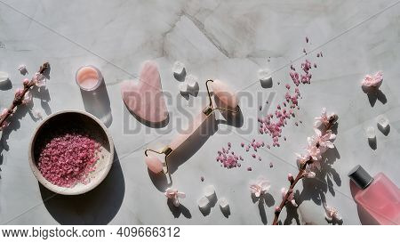 Crystal Rose Quartz Facial Roller And Gua Sha Stone For Beauty Facial Massage Therapy, Flat Lay On M
