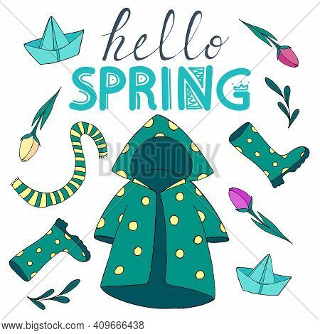 Hello Spring, Spring Set Of Doodle Elements - Raincoat, Umbrella, Rubber Boots, Scarf, Paper Boat, F