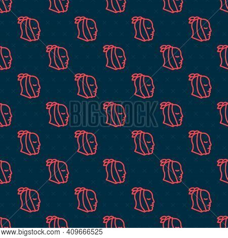 Red Line Toothache Icon Isolated Seamless Pattern On Black Background. Vector