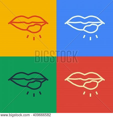Pop Art Line Herpes Lip Icon Isolated On Color Background. Herpes Simplex Virus. Labial Infection In