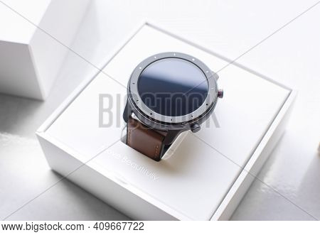 Rayong,thailand - Jan 28 2021, Xiaomi Amazfit Gtr 47mm. Smart Watch In The White Box