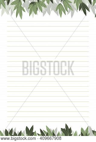 Grid Paper. Abstract Striped Background With Color Horizontal Lines. Printing Paper Note On Floral B