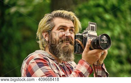 Summer Vacation. Photographer Hold Retro Camera. Journalist Is My Career. Reporter Make Photo. Vinta