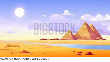 Egyptian Desert With River And Pyramids. Vector Cartoon Illustration Of Landscape With Yellow Sand D