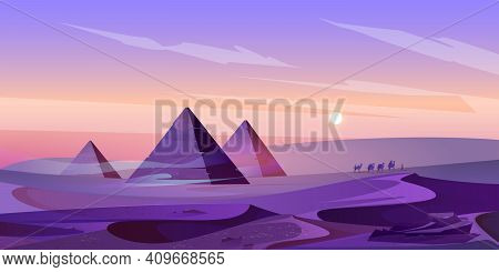 Egypt Pyramids And Nile River In Dusk Desert, Egyptian Pharaoh Tomb Complex In Giza Plateau Illumina