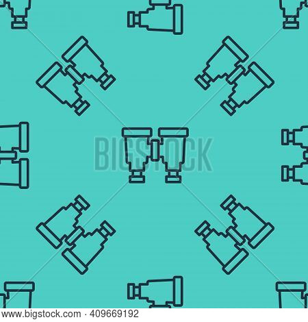 Black Line Binoculars Icon Isolated Seamless Pattern On Green Background. Find Software Sign. Spy Eq