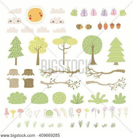 Woodland Landscape Clipart Set, Tree, Bush, Grass, Flower, Isolated On White. Hand Drawn Vector Illu