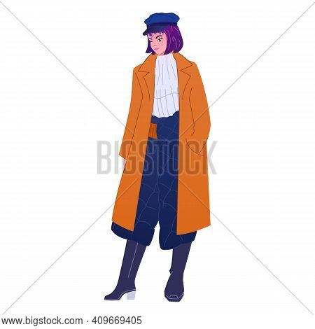 Purple Colored Hair Fashionista Wears Trendy Outfit With Quilted Skirt, Coat And Beret Hat. Elegant