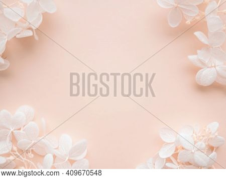 Flowers Composition. Frame Made Of White Flowers Hydrangea On Pink Background. Wedding Day, Mothers