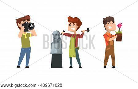 Male Hobby Or Profession Set, Photographer, Sculptor, Florist Cartoon Vector Illustration