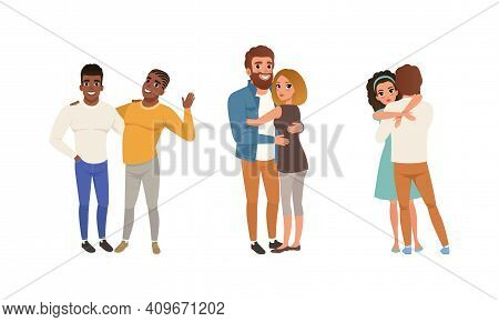 Happy Couples Hugging Set, Romantic Partners Or Best Friends Embracing With Smiling Faces Cartoon Ve
