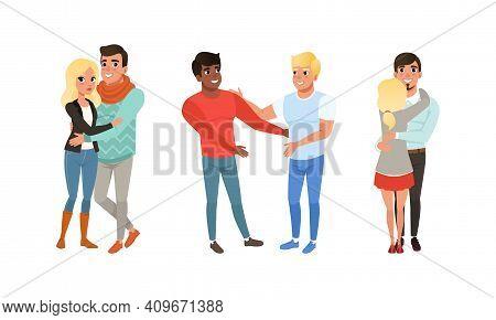 Happy Couples Hugging Set, Smiling Romantic Partners Or Friends Embracing Cartoon Vector Illustratio