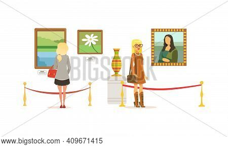 People Looking At Paintings At Exhibition, Visitors Viewing Exhibits At Classic Art Gallery Or Museu