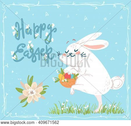 Cute Easter Greeting Card With Sneaking Bunny
