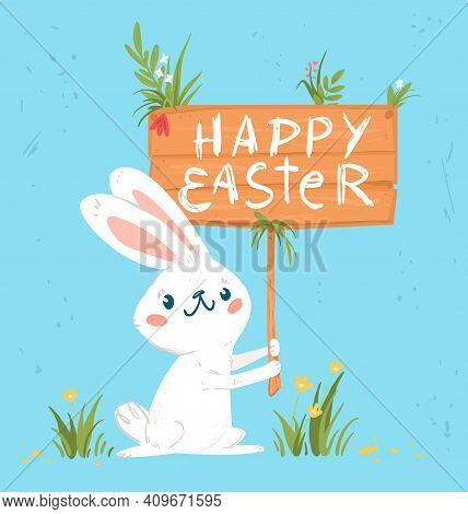 Happy Easter Graphic Greeting Card With Rabbit