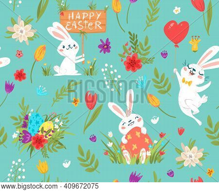 Happy Easter Seamless Pattern With Various Rabbits