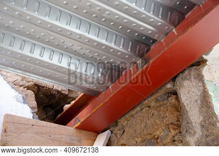 Detail Of Metal Decking Sheet And Iron Beam On Construction Site. Floor Decking For Reinforced Concr