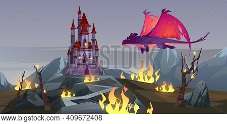 Dragon Attack Castle, Fantasy Magic Character Breathing With Fire Destroy Medieval Palace. Fairytale