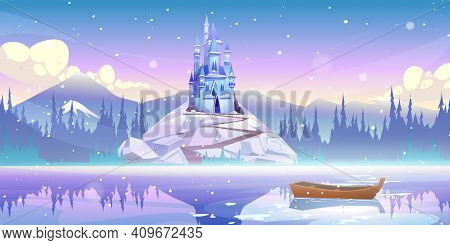 Magic Castle On Mountain Top At River Pier With Boat Floating On Water At Winter Day With Falling Sn