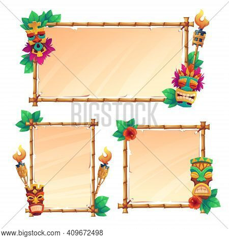 Bamboo Frames With Tiki Masks, Old Parchment And Burning Torches, Tribal Wooden Totems, Hawaiian Or