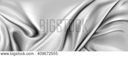 Abstract Background With Silk Cloth Texture, Shiny Satin Fabric With Waves And Drapery. Vector Reali