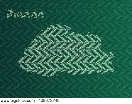 Bhutan Map With Green And Gold Oriental Geometric Simple Pattern And Abstract Waves