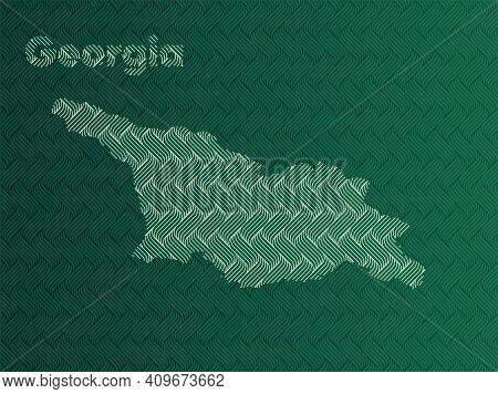 Georgia Map With Green And Gold Oriental Geometric Simple Pattern And Abstract Waves