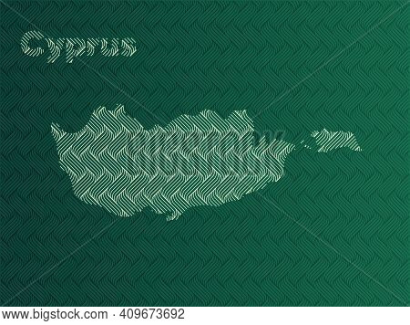 Cyprus Map With Green And Gold Oriental Geometric Simple Pattern And Abstract Waves