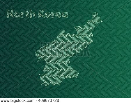 North Korea Map With Green And Gold Oriental Geometric Simple Pattern And Abstract Waves
