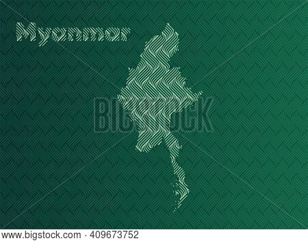 Myanmar Map With Green And Gold Oriental Geometric Simple Pattern And Abstract Waves