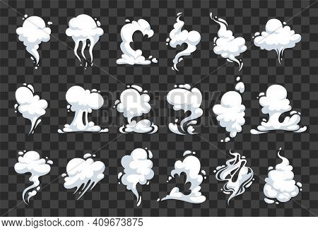 White Clouds Of Steam, Vapor And Odors. Cartoon Effects Of Smoke, Explosion, Air And Dust. Hover Sil