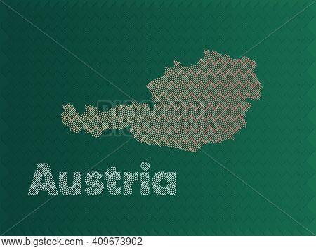 Austria Map With Green And Gold Oriental Geometric Simple Pattern And Abstract Waves