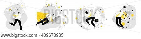 Set Of Business Illustrations. Businessmen Are Protecting Themselves From The Coronavirus And Lookin