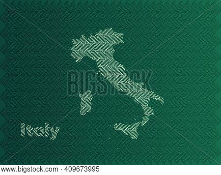 Italy Map With Green And Gold Oriental Geometric Simple Pattern And Abstract Waves
