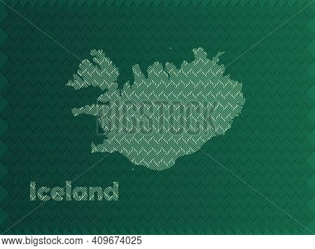 Iceland Map With Green And Gold Oriental Geometric Simple Pattern And Abstract Waves
