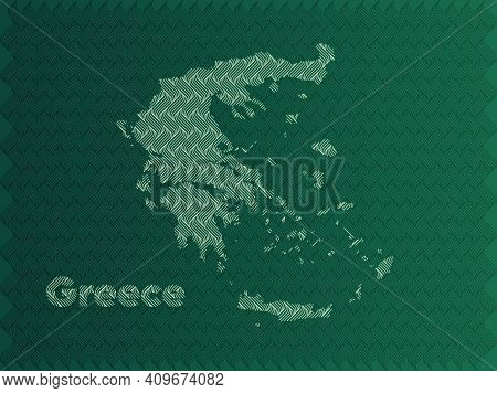 Greece Map With Green And Gold Oriental Geometric Simple Pattern And Abstract Waves