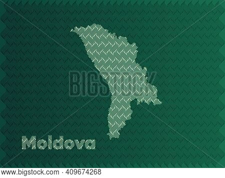 Moldova Map With Green And Gold Oriental Geometric Simple Pattern And Abstract Waves
