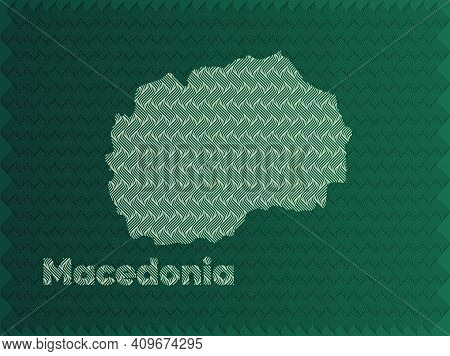Macedonia Map With Green And Gold Oriental Geometric Simple Pattern And Abstract Waves