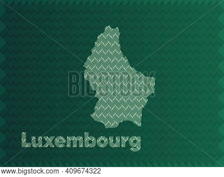 Luxembourg Map With Green And Gold Oriental Geometric Simple Pattern And Abstract Waves