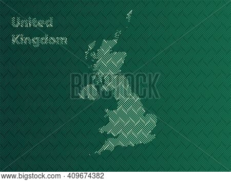 United Kingdom Map With Green And Gold Oriental Geometric Simple Pattern And Abstract Waves