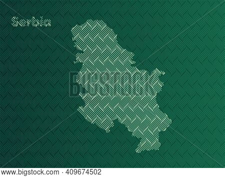 Serbia Map With Green And Gold Oriental Geometric Simple Pattern And Abstract Waves