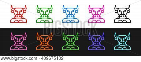 Set Line Minotaur Icon Isolated On Black And White Background. Mythical Greek Powerful Creature The